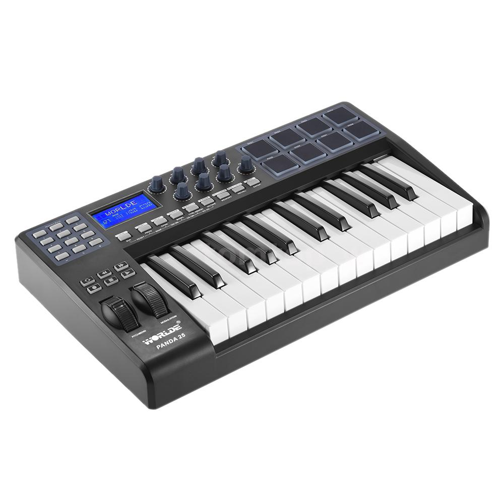 25 key portable usb midi keyboard 8 drum pads controller with usb cable f1q3. Black Bedroom Furniture Sets. Home Design Ideas